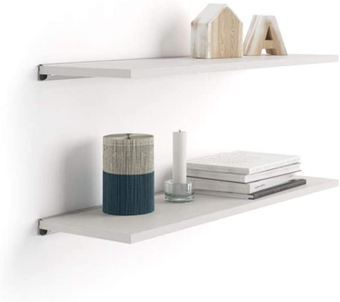 Mobili Fiver, Par de estantes Evolution 80x25 cm Fresno Blanco, con Soporte de Aluminio Gris, Aglomerado y Melamina/Aluminio, Made in Italy
