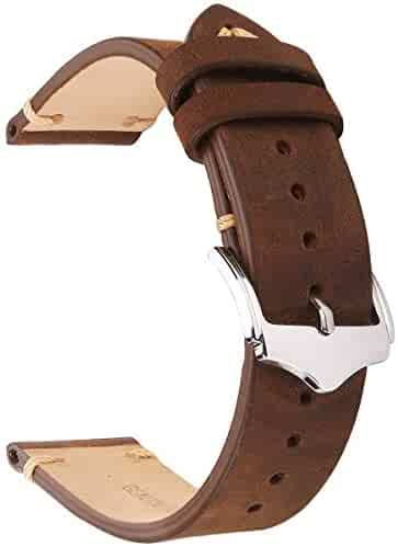 EACHE 20mm Genuine Leather Watch Band Brown Crazy Horse Replacement Straps