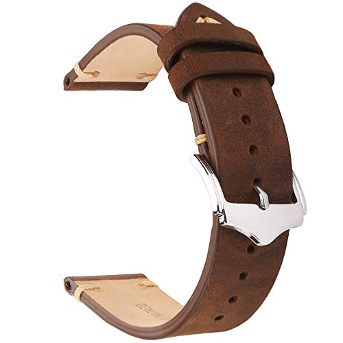 EACHE 20mm Genuine Leather Watch Band Brown Crazy Horse Replacement Straps Brown Rubber Strap Watch