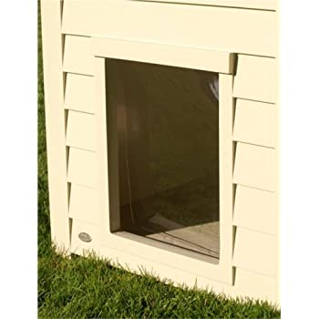 Amazoncom trixie pet products plastic door for peaked for Trixie dog house insulation