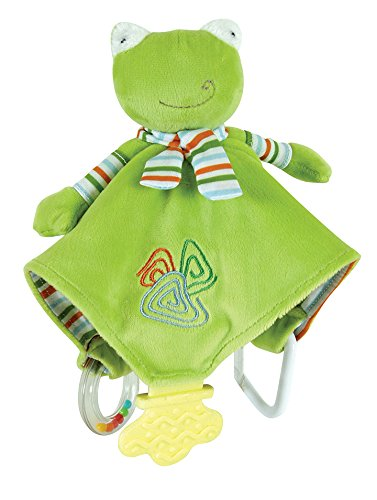 Stephan Baby Ultra Soft Plush Chewbie Activity Toy and Teething Blankie, Fred The Frog, Green