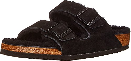 Birkenstock Unisex Arizona Shearling Sandal, Black/Black Suede, 36 N EU