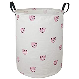 "AYTG 19.7"" Round Canvas Large Clothes Basket Laundry Hamper with Handles,Waterproof Cotton Storage Organizer Perfect for Kids Boys Girls Toys Room, Bedroom, Nursery,Home,Gift Basket(Leopard Head)"