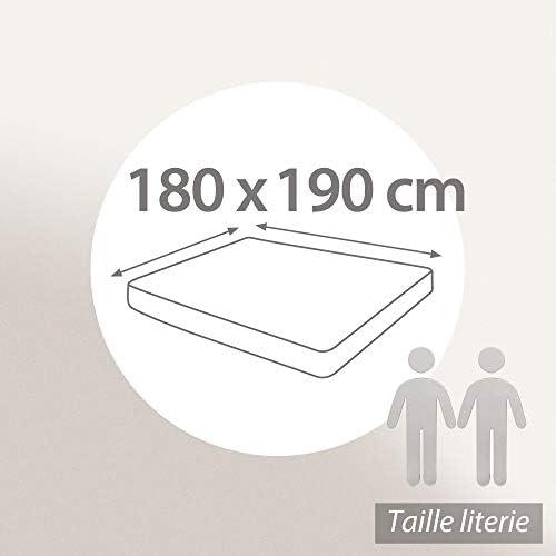 Linnea Drap Housse uni 180x190 cm 100% Coton Alto Vert Fleur d'amandier