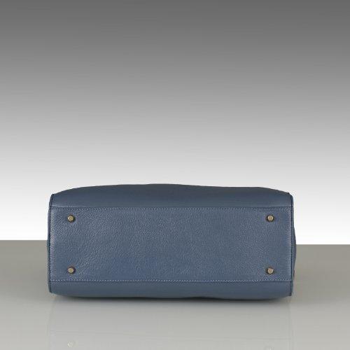 SOLDES:BELUCIA OVADA Grand Sac porté main,Sac à main,véritable cuir de veau de grain,Bicolore Bleu,Retours gratuits de France