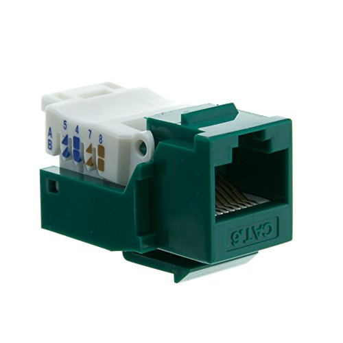 Cat6 Keystone Jack, Green, Toolless, RJ45 Female - Inline UTP Lan Modular Patch Stand Punch Down (Hubbell Angled Faceplate)
