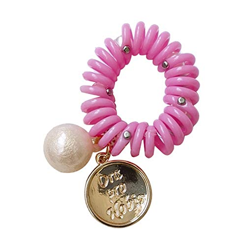 lightclub Solid Color Candy Color Colorful Mini Small Summer Women Round Disc Faux Pearl Phone Wire Elastic Spiral Coil Hair Rope Bracelet Pink ()