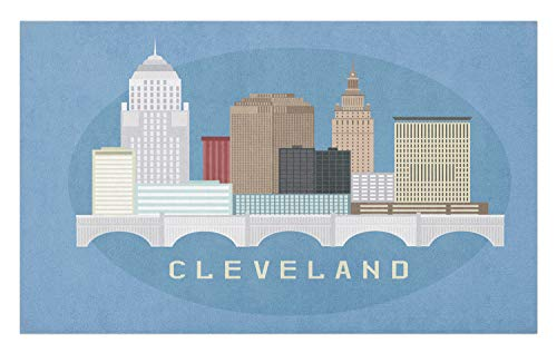 Lunarable Cleveland Doormat, Composition with Flat Design High Rise Commercial Buildings of Cleveland City, Decorative Polyester Floor Mat with Non-Skid Backing, 30 W X 18 L Inches, -