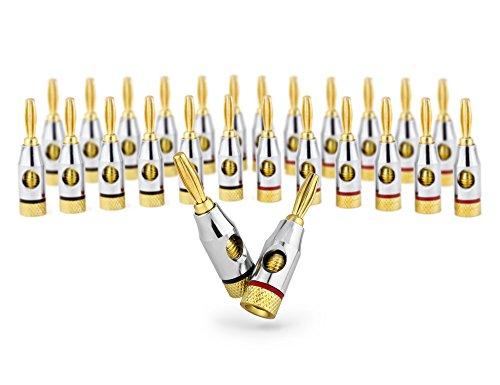 Ocelot Banana Plugs, 24k Gold Plated Connectors, Open Screw Type, 12 Pair, 12 Pair (24 plugs)