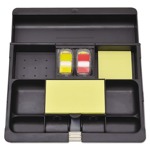 Recycled Plastic Desk Drawer Organizer Tray, Plastic, Black, Sold as 1 Each