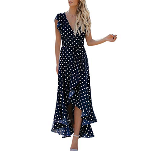 Maxi Dresses for Womens, FORUU Sleeveless Floral Printed Long Dress with Pockets Purple Ladies Dot Printed Sundress V Neck Sexy Ruffle Short Sleeve Swing Irregular Hem Wedding Casual