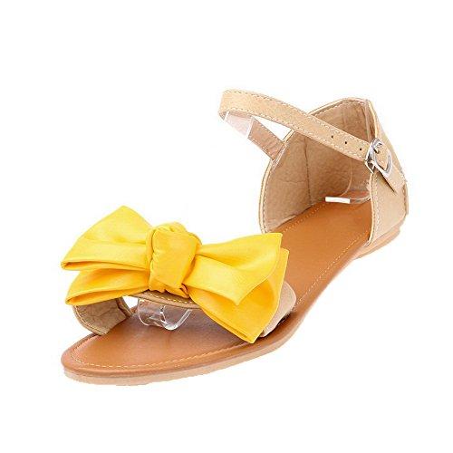 AalarDom Mujer Puntera Abierta Mini Tacón Material Suave Hebilla Sandalias de vestir Amarillo