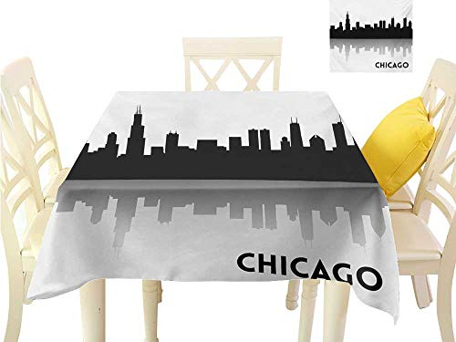 familytaste Outdoor tablecloths Chicago Skyline,Downtown Skyscrapers Illinois Tourism Travel Country Urban Minimalist,Black and White 3D Dital Printing Covers W 60