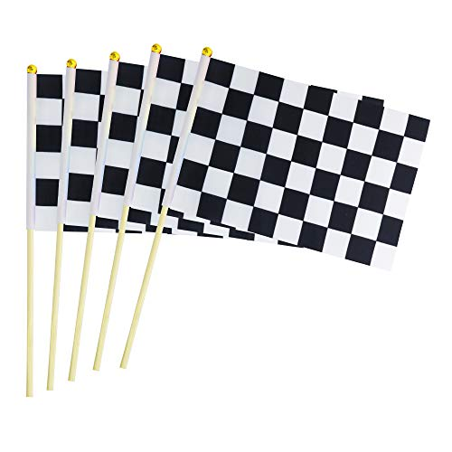 LoveVC 50 Pack Checkered Racing Stick Flag Small Mini Hand Held Black & White Race Car Flags with Wood Stick,Party Decorations Supplies for Racing,Race Car Party,Festival Events -