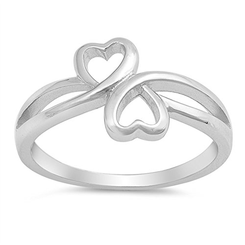 Infinity Heart Friendship Promise Ring New .925 Sterling Silver Band Size (Silver Best Friend Heart)