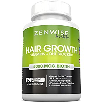 Hair Growth Vitamins Supplement - 5000 mcg Biotin & DHT Blocker Hair Loss Treatment for Men & Women - 1 Month Supply With Vitamin A & E to Stimulate Faster Regrowth + Care for Damaged Hair - 60 Pills