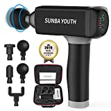 Carrying Case Massage Gun,SUNBA YOUTH Powerful Handheld Deep Tissue Muscle Massager,Rechargeable Cordless Percussion Massager with 5 Massage Heads& Portable Bag