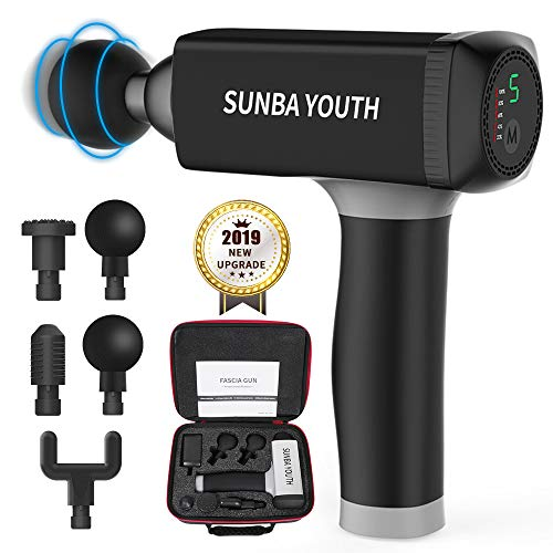 Massage Gun,SUNBA YOUTH Powerful Handheld Deep Tissue Muscle Massager,Rechargeable Cordless Percussion Massager with 5 Massage Heads Portable Bag Black