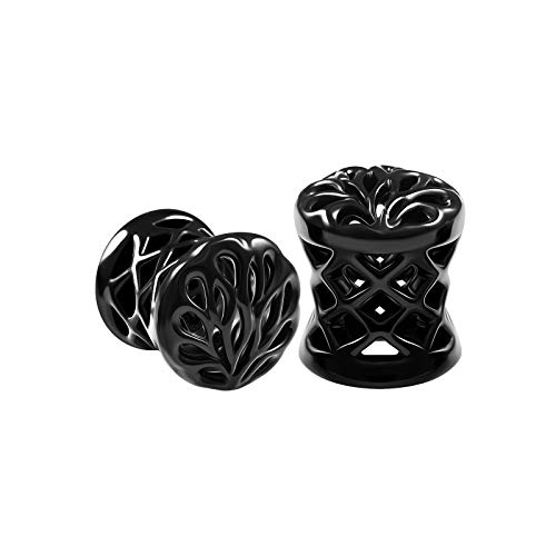 BIG GAUGES Pair of Blackline Alloy 0g Gauge 8mm Double Flared Saddle Piercing Jewelry Earring Stretcher Ear Plugs Flesh Tunnel BG6128