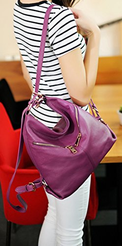 European Black Handbags Women Backpacks Lady Fashion Heshe and New and and Leather for Bag America Double Shoulder EFxqAaU
