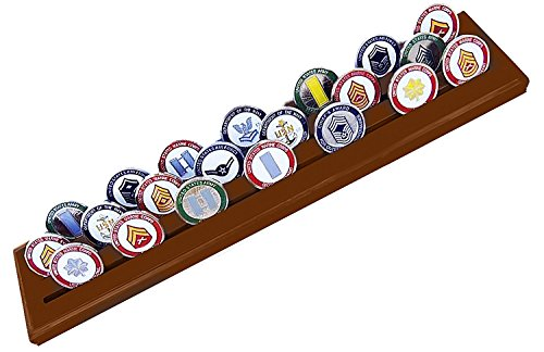DECOMIL Military Challenge Coins and Poker Chips Holder Stand Walnut 3 Rows by DECOMIL