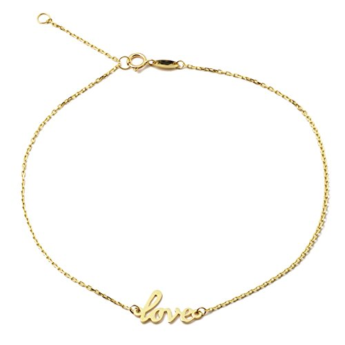LOVEBLING 10K Yellow Gold .5mm Rolo Chain with Love Charm Anklet Adjustable 9