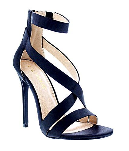 [Liliana Criss Cross Satin Strappy Stiletto Heels Tisha-31(Black 9)] (Clunky Heels)