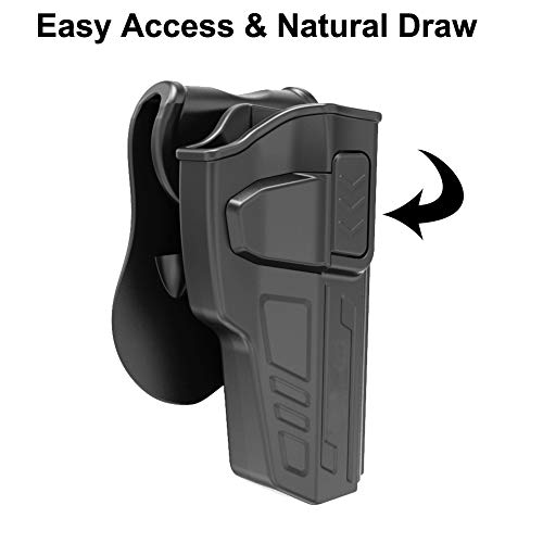 Beretta 92 Holster: Also Fit Beretta 92FS GSG92 / Girsan Regard MC/Taurus  PT92 - NO Laser, Sight and Rail - Polymer OWB Paddle Holster - Free Belt