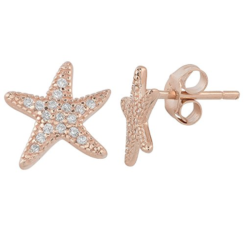 Kooljewelry Rose Gold Over Sterling Silver with Cubic Zirconia Starfish Earrings ()