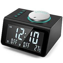ANJANK Small Alarm Clock Radio with FM Radio,Dual USB Charging Ports,Temperature Display,Dual Alarms with 7 Alarm Sounds,5 Level Brightness Dimmer,Headphone Jack,Bedrooms Sleep Timer