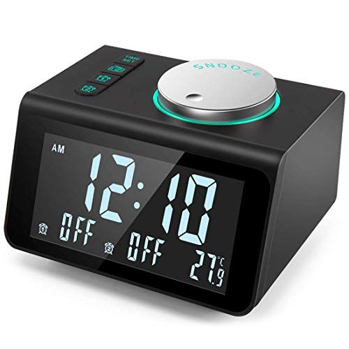 ANJANK Small Alarm Clock Radio with FM Radio,Dual USB Charging Ports,Temperature Display,Dual Alarms with 7 Alarm Sounds,5 Level Brightness Dimmer,Headphone Jack,Bedrooms Sleep Timer ()