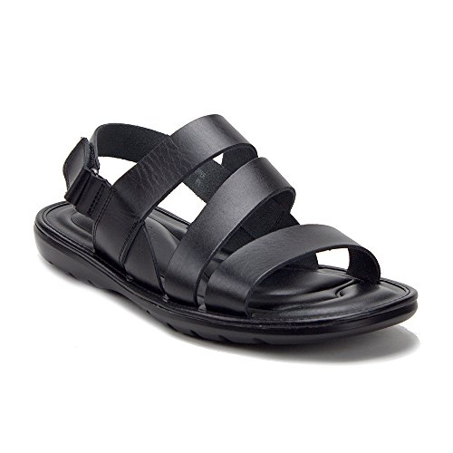 J'aime Aldo Men's 68732 Comfort Leather Gladiator Open Toe Sling Back Sandals, Black, -