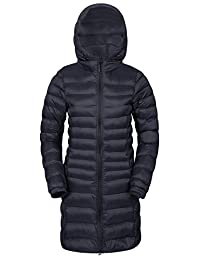 Mountain Warehouse Florence Women's Long Padded Jacket - Water-Resistant, Lightweight Microfiber Filler with Two Front Pockets - Perfect for Light Showers Black 12