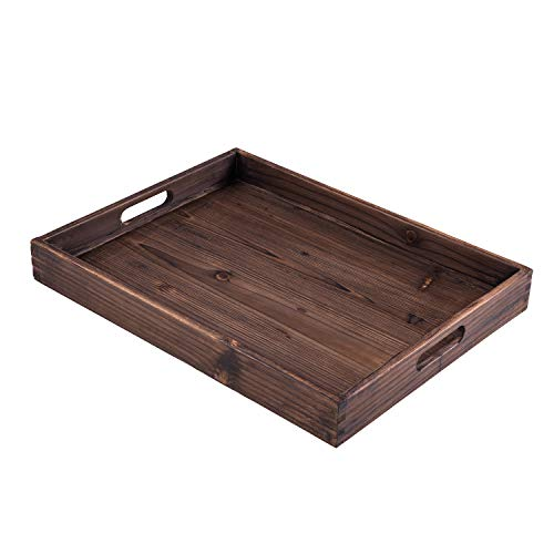 """Tray Wooden Rectangular (Lanperle Serving Tray – Crafted from Fir Wood and with Two Handles – 18"""" X 14"""" with 2"""" Tray Depth)"""
