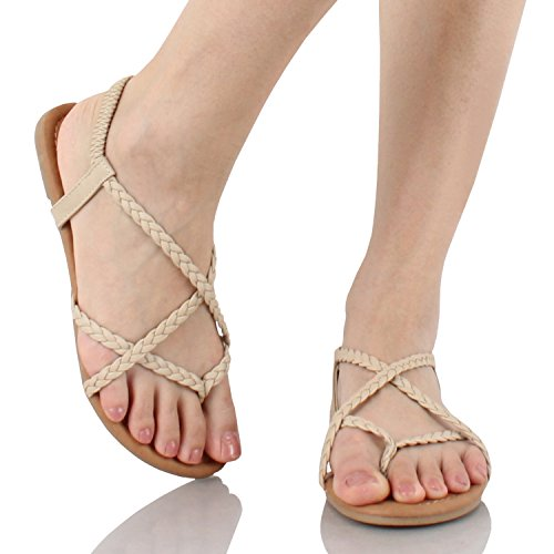 Braided Strappy Sandal (Guilty Shoes Womens Crisscross Summer Gladiator Braided Comfort Yoga Strappy Flats-Sandals, Beige Pu, 6.5)
