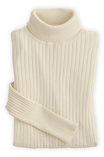 Fair Indigo Fair Trade Organic Ribbed Turtleneck Sweater (L, Vanilla) Indigo Womens Plush