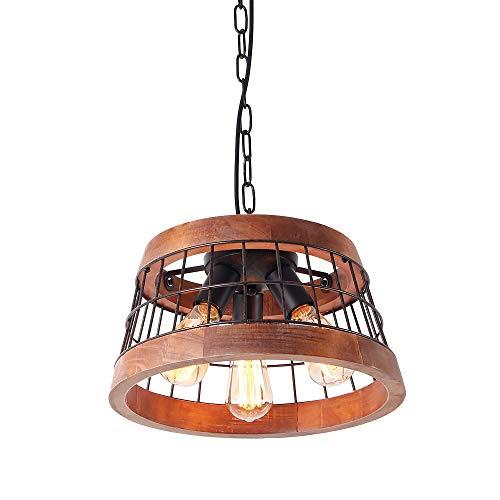 Anmytek Wood and Metal Chandelier Iron Net Frame Rustic Chandelier Lighting Circular Metal Pendant Light Retro Ceiling Light or Edison Vintage Hanging Light Fixture 3-Lights (C0042)