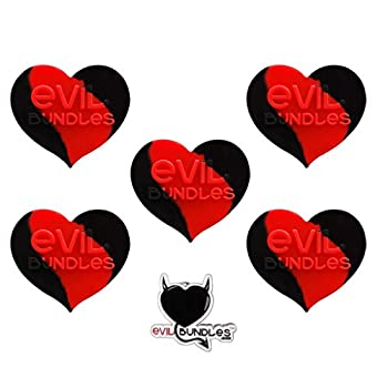 5 Evil Bundles Silicone Concentrate Wax Oil Non Stick Heart Jar Container (Red / Black) FREE PIN