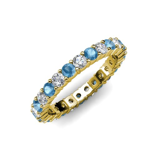 Blue Topaz and Diamond Common Prong Eternity Band 2.10 ct tw to 2.52 ct tw in 14K Yellow Gold.size 4.0 (Diamond 2ct Eternity Tw Band)