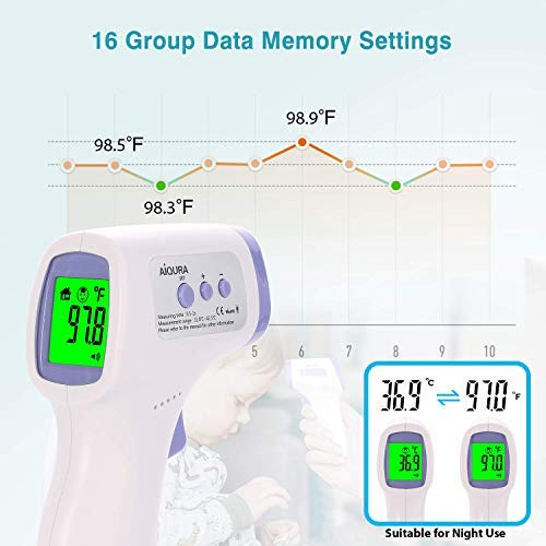 【US Stock Arrived 2-6 Days】Forehead Thermometer Non-Contact Infrared for Adults Acurate Reading with LCD Display and Temperature Alert ℃//℉ Adjustable