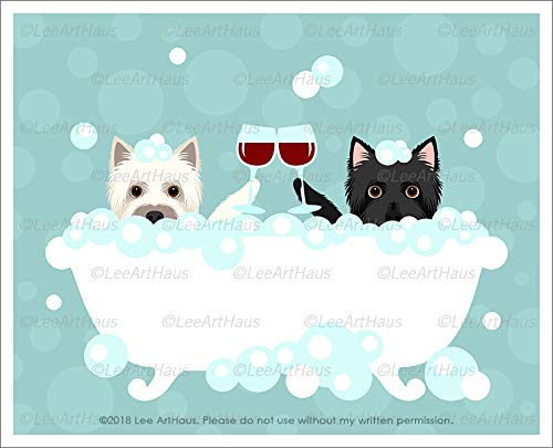 Terrier Dog Art Cairn (747D - Two Cairn Terrier Dogs Toasting Wine Glasses in Bubble Bath UNFRAMED Wall Art Print by Lee ArtHaus)