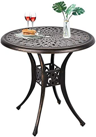 USSerenaY 31″ Cast Aluminum Patio Bistro Round Dining Table
