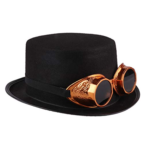 YiZYiF Novelty Felt Top Hat Victorian Steampunk Party Hat with Removable Goggles for Halloween Carnival Costume Dress Up Gold One Size]()