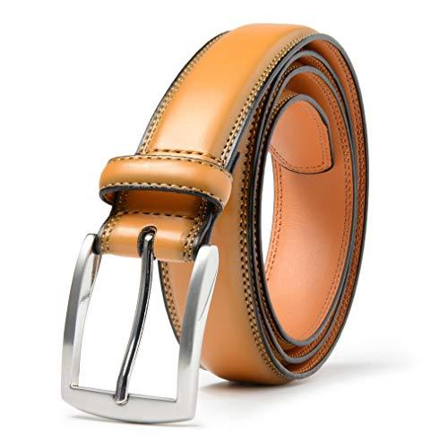 Mark Fred Men's Genuine Leather Dress Belt, Handmade, 100% Cow - Leather Brown Beige