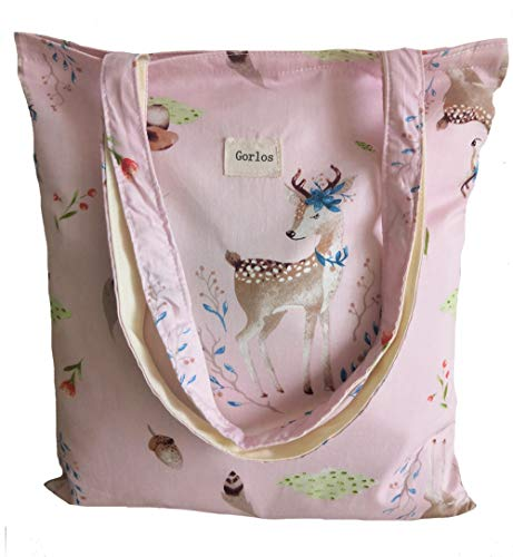 Canvas Tote Carrying Bag for Book Lovers, Readers, and Bibliophiles, Travel bag, shopping bag, Reusable Grocery Bags, (65-No closure-deer+mushroom-pink)