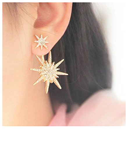 ewelry Chic Crystal Rhinestone Inlay Stars Ear Stud Earring 1 Pc Gold Dangle Earrings For Women Girls ()