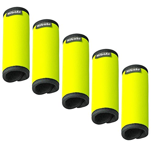 (Hibate Comfort Neoprene Luggage Handle Wrap Grip - Fluorescent Yellow, Pack of 5)