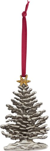 DANFORTH - Snowy Tree Pewter Ornament - Gold Star - 2 5/8 Inches - Satin Ribbon