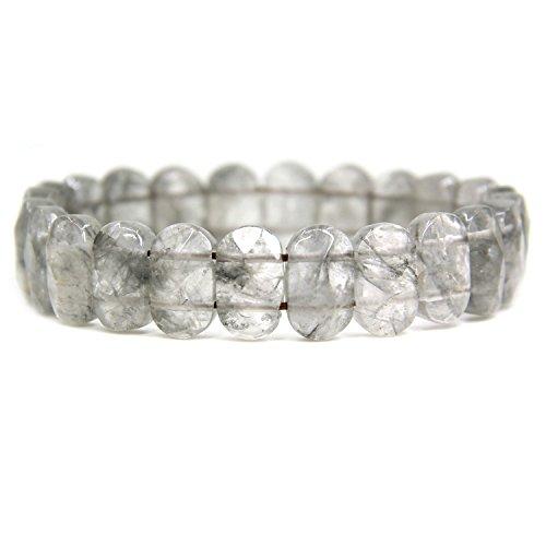 (Natural Gray Cloud Quartz Gemstone 14mm Faceted Oval Beads Stretch Bracelet 7