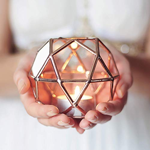 - Clear Glass Geometric Candle Holder | Home Decor | Wedding Decor | Wedding Table Number Holder | Bridesmaid Gift | Wedding Favor | Valentines Day Gift for Her (Copper, Silver, Black)